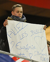 20200307  Valenciennes , France : French fan pictured during the female football game between the national teams of France and Brasil on the second matchday of the Tournoi de France 2020 , a prestigious friendly womensoccer tournament in Northern France , on Saturday 7 th March 2020 in Valenciennes , France . PHOTO SPORTPIX.BE | DIRK VUYLSTEKE