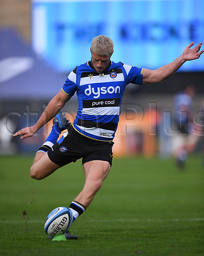 21st November 2020; Recreation Ground, Bath, Somerset, England; English Premiership Rugby, Bath versus Newcastle Falcons; Rhys Priestland of Bath converts a try