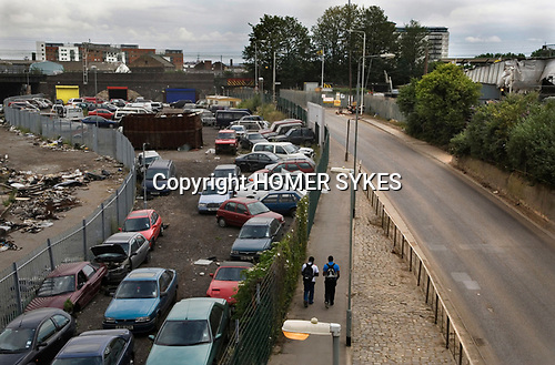 East London the site of the 2012 Olympic Games village and arena, Hackney Marsh, Stratford, England 2006. Marshgate Lane E 15 Industrial trading estate.