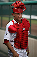 April 14, 2009:  Second Baseman Colt Sedbrook of the Palm Beach Cardinals, Florida State League Class-A affiliate of the St. Louis Cardinals, try to keep entertained during a rain delay at Roger Dean Stadium in Jupiter, FL.  Photo by:  Mike Janes/Four Seam Images