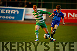 James Darmody of Killarney Celtic and Oisin Smailles go toe to toe for possession in the Jimmy Falvey Memorial Final