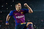 Luis Suarez of FC Barcelona celebrating his score during the La Liga 2018-19 match between FC Barcelona and Sevilla FC at Camp Nou Stadium on October 20 2018 in Barcelona, Spain. Photo by Vicens Gimenez / Power Sport Images