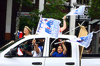 Supporters of chile elect president Sebastian Pinera celebrate in the streets of Santiago de chile his victory in the runoff presidential election-