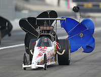 Feb 9, 2017; Pomona, CA, USA; NHRA top dragster driver XXXX during qualifying for the Winternationals at Auto Club Raceway at Pomona. Mandatory Credit: Mark J. Rebilas-USA TODAY Sports