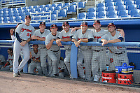 Brevard County Manatees (L-R)  Brandon Woodruff, Cameron Garfield (ducking behind fence), Kaleb Earls, Clint Terry, Javier Salas, Scott Lieser, Stephen Peterson and Preston Gainey before a game against the Dunedin Blue Jays on April 23, 2015 at Florida Auto Exchange Stadium in Dunedin, Florida.  Brevard County defeated Dunedin 10-6.  (Mike Janes/Four Seam Images)