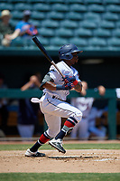 Jacksonville Jumbo Shrimp Anfernee Seymour (9) hits an infield single during a Southern League game against the Tennessee Smokies on April 29, 2019 at Baseball Grounds of Jacksonville in Jacksonville, Florida.  Tennessee defeated Jacksonville 4-1.  (Mike Janes/Four Seam Images)