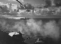 Japanese plane shot down as it attempted to attack USS KITKUN BAY.  Near Mariana Islands, June 1944.  (Navy)<br /> Exact Date Shot Unknown<br /> NARA FILE #:  080-G-238363<br /> WAR & CONFLICT BOOK #:  975
