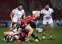 12th February 2021; Kingsholm Stadium, Gloucester, Gloucestershire, England; English Premiership Rugby, Gloucester versus Bristol Bears; Willi Heinz of Gloucester passes from a ruck