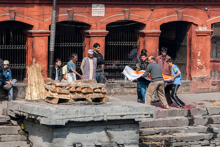 Nepal, Pashupatinath.  Cremation Stages.  Family Members Carry the Corpse to the Cremation Site.