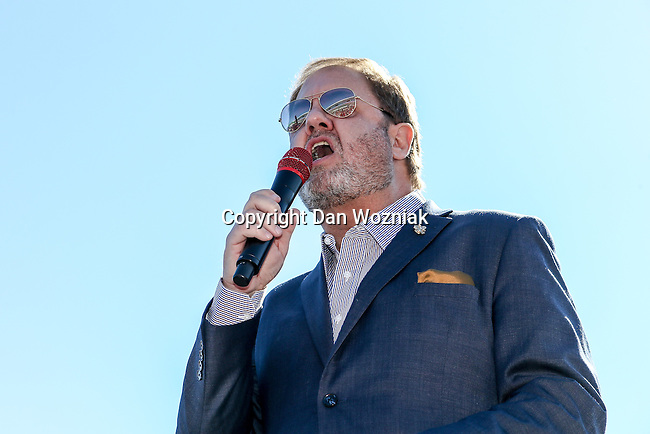 Eddie Gossage addresses the crowd before the NASCAR AAA Texas 500 race at Texas Motor Speedway in Fort Worth,Texas.