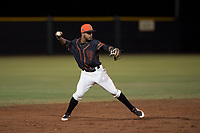 AZL Giants Black shortstop Enoc Watts (83) prepares to make a throw to first base during an Arizona League game against the AZL Angels at the San Francisco Giants Training Complex on July 1, 2018 in Scottsdale, Arizona. The AZL Giants Black defeated the AZL Angels by a score of 4-2. (Zachary Lucy/Four Seam Images)