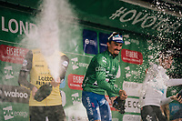 champagne on the final podium:<br /> 1/ Julian Alaphilippe (FRA/Quick-Step Floors)<br /> 2/ Wout Poels (NED/SKY)<br /> 3/ Primoz Roglic (SVK/LottoNL-Jumbo)<br /> <br /> Stage 8: London to London (77km)<br /> 15th Ovo Energy Tour of Britain 2018