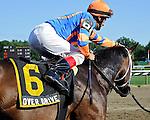 Overdriven (no. 6), ridden by John Velazquez and trained by Todd Pletcher, wins the 97th running of the grade 2 Sanford Stakes for two year olds on July 24, 2011 at Saratoga Race Track in Saratoga Springs, New York.  (Bob Mayberger/Eclipse Sportswire)