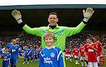 St Johnstone v Man Utd XI....31.07.10  Alan Main Testimonial.Alan Main with son Kristofer.Picture by Graeme Hart..Copyright Perthshire Picture Agency.Tel: 01738 623350  Mobile: 07990 594431