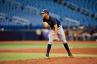 Shane McClanahan (8) looks in for the sign during the Tampa Bay Rays Instructional League Intrasquad World Series game on October 3, 2018 at the Tropicana Field in St. Petersburg, Florida.  (Mike Janes/Four Seam Images)