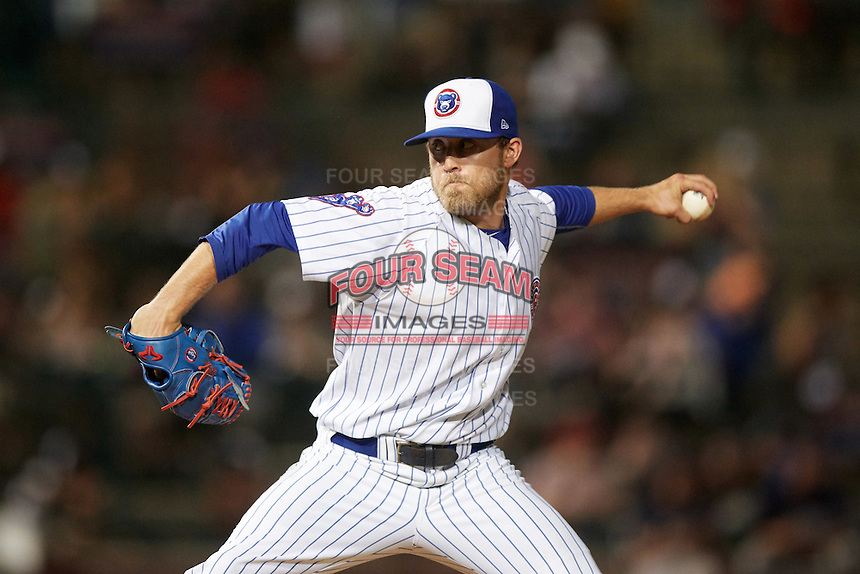 South Bend Cubs relief pitcher John Williamson (20) during a game against the Burlington Bees on July 22, 2016 at Four Winds Field in South Bend, Indiana.  South Bend defeated Burlington 4-3.  (Mike Janes/Four Seam Images)
