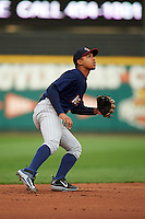 Toledo Mudhens shortstop Dixon Machado (28) during a game against the Rochester Red Wings on May 12, 2015 at Frontier Field in Rochester, New York.  Toledo defeated Rochester 8-0.  (Mike Janes/Four Seam Images)