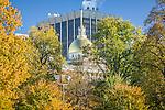 Fall foliage colors the Massachusetts Stata House on Boston Common in Boston, MA