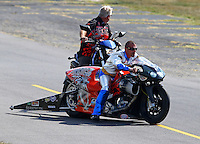 Aug. 30, 2013; Clermont, IN, USA: NHRA pro stock motorcycle Shawn Gann during qualifying for the US Nationals at Lucas Oil Raceway. Mandatory Credit: Mark J. Rebilas-