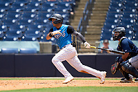 Tampa Tarpons Everson Pereira (4) bats during a game against the Lakeland Flying Tigers on July 18, 2021 at George M. Steinbrenner Field in Tampa, Florida.  (Mike Janes/Four Seam Images)