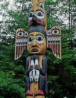 Southeast Alaska Totem, Tlingit Indian Totem at Totem Bight Totem Park, Ketchikan, Alaska.