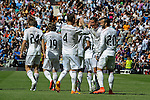 Real Madrid´s players celebrate a goal during 2014-15 La Liga match between Real Madrid and Eibar at Santiago Bernabeu stadium in Madrid, Spain. April 11, 2015. (ALTERPHOTOS/Luis Fernandez)