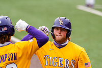 LSU Tigers designated hitter Cade Beloso (24) celebrates hitting a home run against the Tennessee Volunteers on Robert M. Lindsay Field at Lindsey Nelson Stadium on March 28, 2021, in Knoxville, Tennessee. (Danny Parker/Four Seam Images)