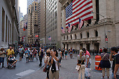 New York, New York<br /> August 18, 2011<br /> <br /> The New York Stock Exchange during trading as Dow Jones industrial average fell 419.63 points. After just a few days of calm, stock markets heaved again, sending major American indexes down as much as 5 percent on persistent worries about the economy and Europe's debt problems. <br /> <br /> Investors rushed into United States Treasuries as a safe haven, despite unease about how the government will address its deficit and economic slowdown.
