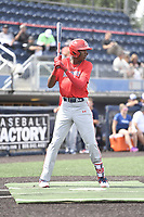 TEMPORARY UNEDITED FILE:  Image may appear lighter/darker than final edit - all images cropped to best fit print size.  <br /> <br /> Under Armour All-American Game presented by Baseball Factory on July 19, 2018 at Les Miller Field at Curtis Granderson Stadium in Chicago, Illinois.  (Mike Janes/Four Seam Images) Myles Austin is a shortstop from Westlake High School in Smyrna, Georgia committed to Alabama.
