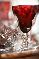An antique red Lalaing crystal glass from Holmegaard