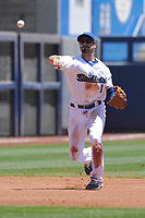 Tulsa Drillers shortstop Michael Ahmed (1) throws to first base during a game against the Arkansas Travelers at Oneok Field on May 21, 2017 in Tulsa, Oklahoma.  The Drillers won 13-6. (Dennis Hubbard/Four Seam Images)