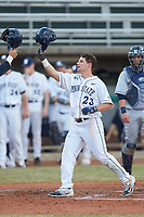 Braxton Giavedoni (23) of the Penn State Nittany Lions celebrates a home run against the Xavier Musketeers at Coleman Field at the USA Baseball National Training Center on February 25, 2017 in Cary, North Carolina. The Musketeers defeated the Nittany Lions 7-5 in game two of a double header. (Brian Westerholt/Four Seam Images)