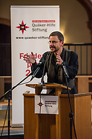 """Menschenrechtsaktivist Peter Steudtner wird am 5. Dezember 2017 in der Gethsemanekirche in Berlin-Prenzlauer Berg mit dem Friedenspreis 2017 der Quaeker-Hilfe Stiftung ausgezeichnet.<br /> """"Wir wollen das mutige und langjaehrige Engagement Steudtners in der Friedens- und Menschenrechtsarbeit wuerdigen. Sein Einsatz fuer gewaltfreie Beilegung von Konflikten, fuer Frieden und Gerechtigkeit ist beispielhaft. Wir ehren jemanden, der fuer Menschenrechte ebenso Flagge zeigt wie fuer Presse- und Redefreiheit"""", so die Quaeker-Hilfe Stiftung.<br /> Im Bild: Peter Steudtner bei seiner Dankesrede.<br /> 5.12.2017, Berlin<br /> Copyright: Christian-Ditsch.de<br /> [Inhaltsveraendernde Manipulation des Fotos nur nach ausdruecklicher Genehmigung des Fotografen. Vereinbarungen ueber Abtretung von Persoenlichkeitsrechten/Model Release der abgebildeten Person/Personen liegen nicht vor. NO MODEL RELEASE! Nur fuer Redaktionelle Zwecke. Don't publish without copyright Christian-Ditsch.de, Veroeffentlichung nur mit Fotografennennung, sowie gegen Honorar, MwSt. und Beleg. Konto: I N G - D i B a, IBAN DE58500105175400192269, BIC INGDDEFFXXX, Kontakt: post@christian-ditsch.de<br /> Bei der Bearbeitung der Dateiinformationen darf die Urheberkennzeichnung in den EXIF- und  IPTC-Daten nicht entfernt werden, diese sind in digitalen Medien nach §95c UrhG rechtlich geschuetzt. Der Urhebervermerk wird gemaess §13 UrhG verlangt.]"""