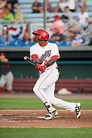 Auburn Doubledays first baseman Jamori Blash (26) at bat during a game against the Lowell Spinners on July 13, 2018 at Falcon Park in Auburn, New York.  Lowell defeated Auburn 8-5.  (Mike Janes/Four Seam Images)