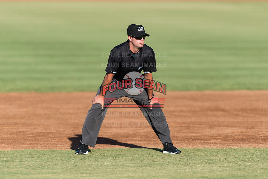 Field umpire Paul Roemer during an Arizona League playoff game between the AZL Rangers and the AZL Indians 1 at Goodyear Ballpark on August 28, 2018 in Goodyear, Arizona. The AZL Rangers defeated the AZL Indians 1 7-4. (Zachary Lucy/Four Seam Images)