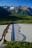 Aerial Million Dollar Bridge crossing the Copper River, Chugach National Forest near Cordova, Alaska.
