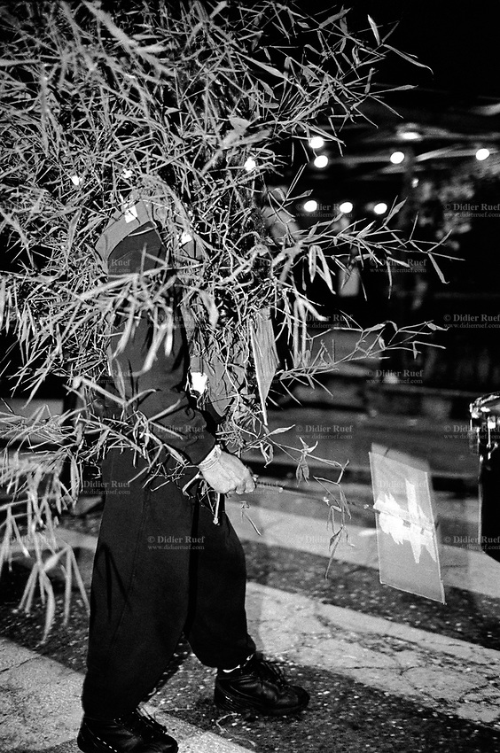 Switzerland. Canton Ticino. Tesserete. Carnival. A walking man is dressed up as a tree. Night time. © 2007 Didier Ruef