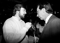 January 1987 File Photo - Montreal, Quebec, CANADA - Liberal Party of Quebec's leader and Quebec Premier Robert Bourassa (R) and Pietro Perrino, Leader Youth wing (L)) during the Liberal convention at Queen Elizabeth-Hotel January 24-25, 1987