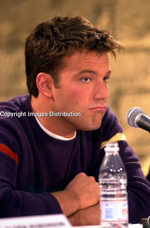 Montreal,April 9, 2001<br /> American actor Ben Affleck makes a funnny expression while he speaks at a press conference for the movie `` Sum of all fears ``, currentlly beeing shot in Montreal, CAnada by film maker Phil Alden Robinson.<br /> <br /> Affleck plays CIA analyst Jack Ryan in the 4th movie  based on a Tom Clancy's novel and produced by Mace Neufeld.<br /> <br /> <br /> NOTE :  color corrected D-1 file, saved asAdobe 1998 RBG Color space