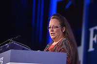 Washington, DC - September 25, 2015: Rowan County, Kentucky clerk Kim Davis addresses attendees of the Values Voter Summit at the Omni Shoreham Hotel in the District of Columbia, September 25, 2015. Rowan made headlines when she refused to issue marriage licenses to same-sex couples based on her religious beliefs. Her refusal resulted in a judge putting her in jail for contempt of court. (Photo by Don Baxter/Media Images International)