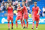 Real Sociedad's Xabi Prieto, Sergio Canales, Diego Llorente and David Zurutuza celebrate the victory in La Liga match. September 10,2017. (ALTERPHOTOS/Acero)