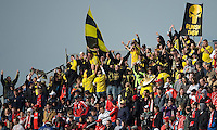 02 May 2009: Columbus Crew fans celebrate the first goal during MLS action at BMO Field in a game between the Columbus Crew and Toronto FC. .The game ended in a 1-1 draw...