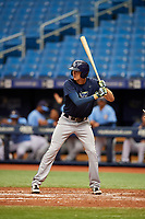 Beau Brundage (19) at bat during the Tampa Bay Rays Instructional League Intrasquad World Series game on October 3, 2018 at the Tropicana Field in St. Petersburg, Florida.  (Mike Janes/Four Seam Images)