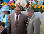 Ahmad Zayat and Steve Asmussen in the winners circle after winning the Miss Preakness Stakes