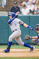 Chase Vallot (8) of the Burlington Royals follows through on his swing against the Pulaski Mariners at Calfee Park on June 20, 2014 in Pulaski, Virginia.  The Mariners defeated the Royals 6-4. (Brian Westerholt/Four Seam Images)