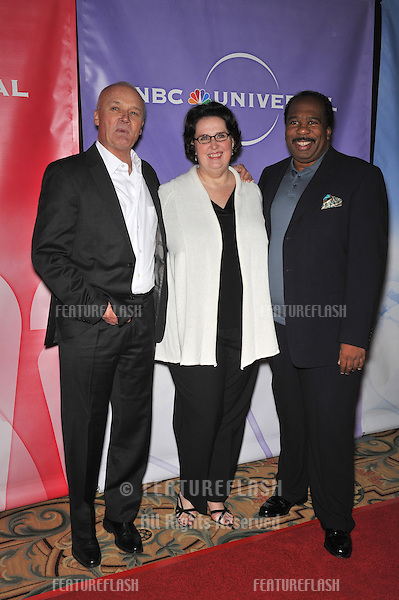 """""""The Office"""" stars Creed Bratton (left), Phyllis Smith & Leslie David Baker at NBC Universal's Winter 2010 Press Tour cocktail party at the Langham Huntington Hotel, Pasadena..January 10, 2010  Pasadena, CA.Picture: Paul Smith / Featureflash"""