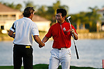 PALM BEACH GARDENS, FL. - Y.E. Yang shakes Will MacKenzie hand after finishing Round Three play at the 2009 Honda Classic - PGA National Resort and Spa in Palm Beach Gardens, FL. on March 7, 2009.