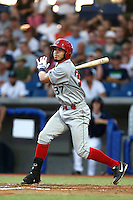 Kevin Torres #37 of the Spokane Indians bats against the Hillsboro Hops at Hillsboro Ballpark on July 22, 2013 in Hillsboro Oregon. Spokane defeated Hillsboro, 11-3. (Larry Goren/Four Seam Images)