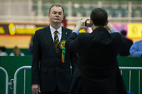 Pictured: Plaid Cymru's candidate, Jonathan Clark during the Newport West by-election ballot count at the Geraint Thomas National Velodrome of Wales in Newport, South Wales, UK. <br /> Thursday 04 April 2019<br /> Re: Voters in Newport West are going to the polls to elect a new member of Parliament.<br /> The seat in south east Wales became vacant following the death of Paul Flynn earlier in February.