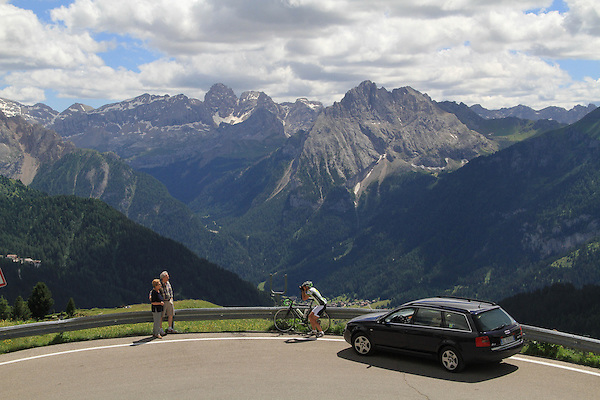 Italy, Dolomites.  <br /> Yes, tourists do crazy things everywhere. I wasn't skilled enough to capture the Ducati motorcycles racing by. Dolomites, northern Italy.